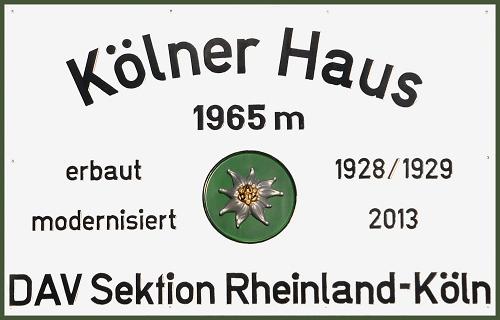 H%C3%BCttenschild des K%C3%B6lner Hauses © Deutscher Alpenverein Sektion Rheinland-Köln