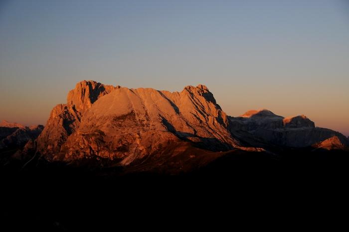 [145] Sonnenuntergang auf Plattkofel und Langkofel ©Kalle Kubatschka © Deutscher Alpenverein Sektion Rheinland-Köln
