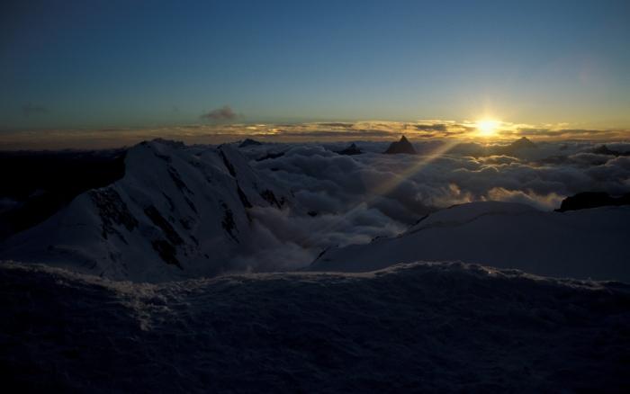 [181] Sonnenuntergang auf der Signalkuppe, Monte Rosa ©Kalle Kubatschka © Deutscher Alpenverein Sektion Rheinland-Köln
